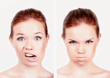 Het gezichtsemoties van het meisje Stock Fotografie