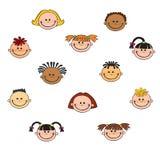 Het gezichtspictogram van het beeldverhaalkind Stock Afbeelding