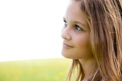 Het gezichtsportret van de close-up van jong meisje Stock Afbeelding