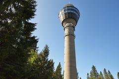 Het gezichtspunttoren van Kuopio Cityscape van Finland oriëntatiepunt Reis backg stock afbeeldingen