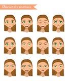 Het gezichtsreeks van de vrouwenemotie Stock Fotografie