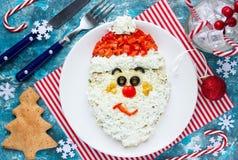 Het gezichtssalade van Kerstmissanta claus voor vakantiediner, Kerstmis Royalty-vrije Stock Foto