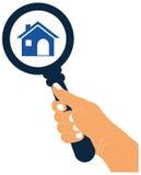 Het gezoem binnen of zoekt huispictogram Zoek naar huisconcept ic Royalty-vrije Stock Afbeeldingen