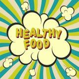 Het gezonde beeld van de voedsel retro stijl Grappige beeldverhaalexplosie met de achtergrond van hypnostralen Vectorillustratie  Stock Foto's