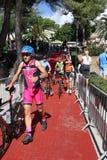 Het gezonde de oefening van de triatlon triathlete sport cirkelen Stock Foto