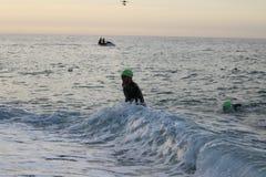 Het gezonde de oefening van de triatlon triathlete sport zwemmen Royalty-vrije Stock Fotografie