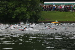 Het gezonde de oefening van de triatlon triathlete sport zwemmen Royalty-vrije Stock Afbeeldingen
