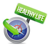 Het gezonde die leven door conceptenkompas wordt vermeld Royalty-vrije Stock Foto's
