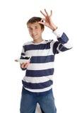 Het gezonde Eten - de bosbessen van de jongensholding stock afbeeldingen