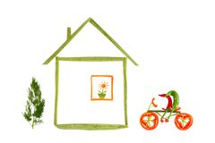 Het gezonde eten. Huis en grappige kleine peper. Royalty-vrije Stock Foto's