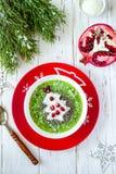 Het gezonde idee van het Kerstmisvoedsel Groene die smoothies met Kerstboom wordt verfraaid Stock Afbeeldingen