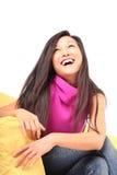 Het gezonde jonge vrouw lachen Royalty-vrije Stock Afbeeldingen