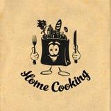 Het gezonde Koken Bon Appetit Het koken idee Kok, chef-kok, keukengereipictogram of embleem Vector illustratie vector illustratie