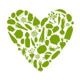 Het gezonde leven - hartvorm met groenten Stock Afbeeldingen