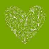Het gezonde leven - hartvorm met groenten stock illustratie