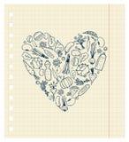 Het gezonde leven - hartvorm met groenten royalty-vrije illustratie