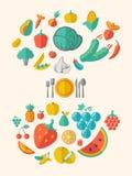 Het gezonde Malplaatje van Voedselinfographic Royalty-vrije Stock Foto's