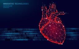 Het gezonde menselijke hart slaat 3d geneeskunde model lage poly Driehoek verbonden het punt rode achtergrond van de puntengloed  stock illustratie