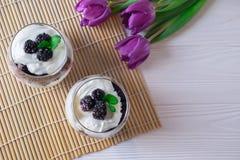 Het gezonde organische ontbijt in een glas met Griekse yoghurt en bessen, lucht, hoogste vlakke mening, legt royalty-vrije stock foto