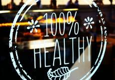100% het gezonde overdrukplaatje van het bistrotglas Royalty-vrije Stock Fotografie