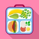Het gezonde pictogram van de lunchzak, vlakke stijl stock illustratie