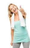 Het gezonde rijpe die teken van vrouwenduimen omhoog op witte achtergrond wordt geïsoleerd Royalty-vrije Stock Foto's