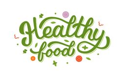 Het gezonde voedselhand van letters voorzien Royalty-vrije Stock Foto's