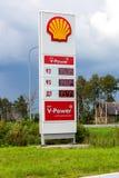 Het gidsteken, wees op de prijs van de brandstof op het benzinestation S royalty-vrije stock foto