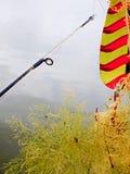 Het gieten uit voor vissen en het vangen van onkruid Stock Foto
