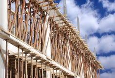 Het gieten van de straal in bouw van de nieuwe bouw Stock Foto's