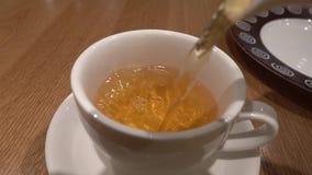 Het gieten van groene thee van theepot in de kop o stock video