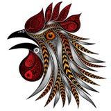 Het gillen haanpatronen Feestelijke haan met kleurrijke veren voor het Nieuwe jaar Royalty-vrije Stock Fotografie