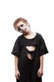 Het gillen het lopen dood van de jongenshalloween van het zombiekind de verschrikkingskostuum Royalty-vrije Stock Afbeeldingen