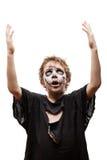 Het gillen het lopen dood van de jongenshalloween van het zombiekind de verschrikkingskostuum Stock Fotografie