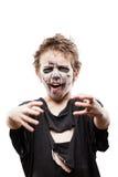 Het gillen het lopen dood van de jongenshalloween van het zombiekind de verschrikkingskostuum Royalty-vrije Stock Afbeelding