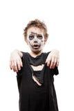Het gillen het lopen dood van de jongenshalloween van het zombiekind de verschrikkingskostuum Royalty-vrije Stock Fotografie