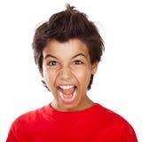 Het gillen jongensportret Royalty-vrije Stock Foto's