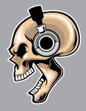 Het gillen schedel die hoofdtelefoon dragen Stock Afbeelding