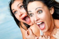 Het gillen van meisjes Stock Foto