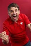 Het gillen Zwitserse sportenventilator royalty-vrije stock afbeeldingen