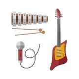 Het gitaarpictogram stringed elektrisch muzikaal de kunst correct hulpmiddel van het instrumenten klassiek orkest en de akoestisc vector illustratie