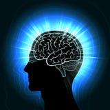 Het glanzen een menselijk hoofd met een gloeiend overzicht van de hersenen en het uitstralen van golven, aura Stock Fotografie
