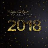 Het glanzen gouden 2018 Gelukkig Nieuwjaar op zwarte achtergrond royalty-vrije illustratie