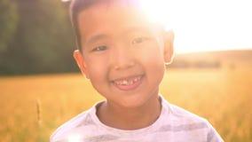 Het glanzen vibes rond portret van gelukkig Aziatisch jong geitje in zonlichten op tarwegebied op platteland stock videobeelden