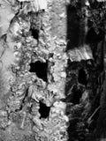 Het glanzen zilveren het roesten schil het afschilferen metaaloppervlakte met gaten en barsten stock foto's