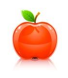 Het glanzende fruit van de glas rode appel met blad Stock Foto's