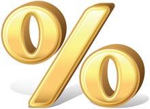 Het glanzende gouden pictogram van het percentagesymbool stock illustratie