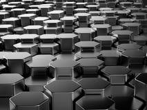 Het glanzende hexagon metaal verspert achtergrond Stock Afbeeldingen