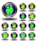 De glanzende pictogrammen van de groep, gekke kleuren. Royalty-vrije Stock Foto's