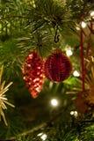 Het glanzende rode Kerstmisbal hangen op Pijnboomboom Stock Foto's